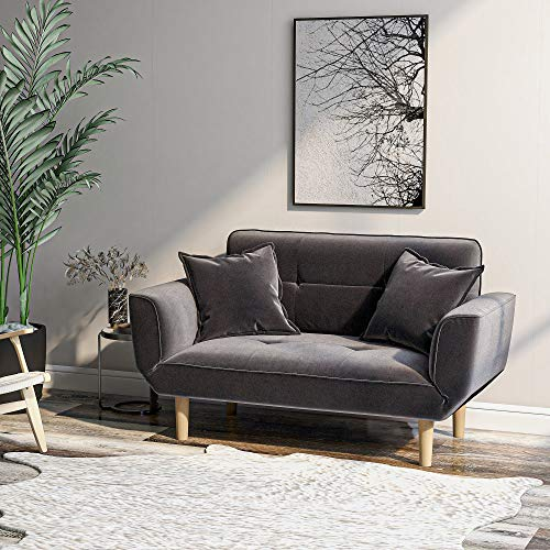 Harper&Bright Designs Sofa Bed Simple Beige Sofa Velvet with Grab Living Room 2 Seater Sofa Couch Settee Recliner Sleeper¡