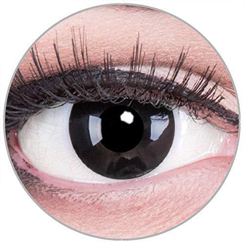 Funnylens Farbige Kontaktlinsen Black Out in schwarz - weich ohne Stärke 2er Pack + gratis Behälter – 12 Monatslinsen - perfekt zu Halloween Karneval Fasching oder Fasnacht