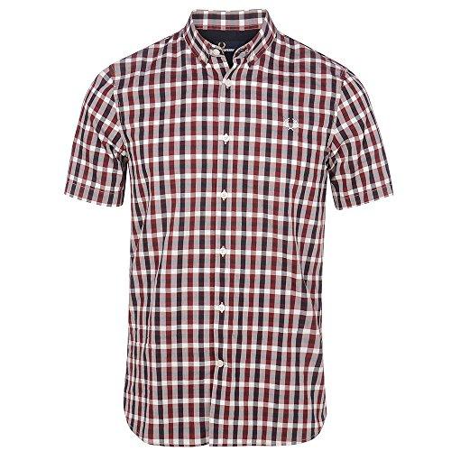 Fred Perry Kurzärmeliges M1583 dreifarbiges Gingham-Korbwebe-Shirt, Burgunderrot Gr. S, rosewood