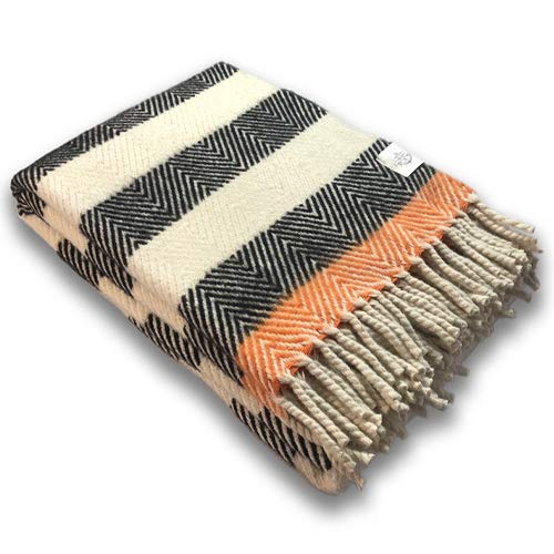 Craft Story Clara - Manta (140 x 200 cm, 100% pura lana virgen, lana virgen), color crema, negro y naranja