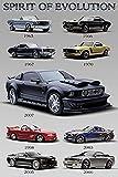 Buyartforless Ford Mustang - Spirit of Evolution 36x24 Car Automobile Art Print Poster Racers 1965-2007, Multicolor