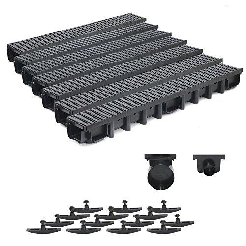7m Entwässerungsrinne Belastungsklasse B125, 98mm komplett SET Stegrost Kunststoff (schwarz)