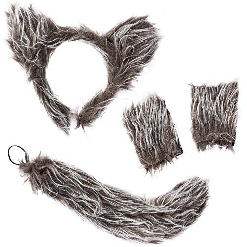 Tigerdoe Ears and Tail Set - Wolf Ears Headband - Animal Costume Accessories (Wolf Costume)