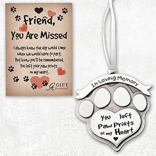 PAW PRINT Shaped - In LOVING Memory PEWTER ORNAMENT - For PET 'YOU Left Paw Prints on My HEART' - Memorial of Deceased DOG or CAT - KEEPSAKE Memorium GIFT-BOXED