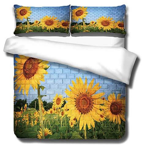 3D Sunflower Duvet Cover Yellow Floral Bedding Set,Summer Colorful Garden Nature 3 Piece Single Double King Size Microfiber Duvet Quilt Cover Set with 2 Pillowcase-Blue-SuperKing