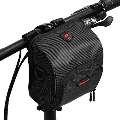 Asvert Fahrrad Lenkertasche wasserdichte Fahrrad Vordertasche für alle Fahrradtypen mit abnehmbarem Schultergurt und Regenschutz, geeignet für Fahrten im Freien (Schwarz)