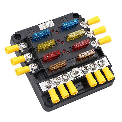 Circuitos Bloque de fusibles con conector de barra negativa para 12v 24v dc Panel de fusibles solares para vehículos marinos Portafusibles con cubierta indicadora (Estilo 2-6-circ con Neg & Cover)