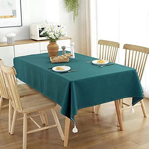Mantel sólido de Lino de algodón con Borla, Mantel Rectangular, Mantel para Comedor, Mesa de té, decoración, Cubierta E140x200cm