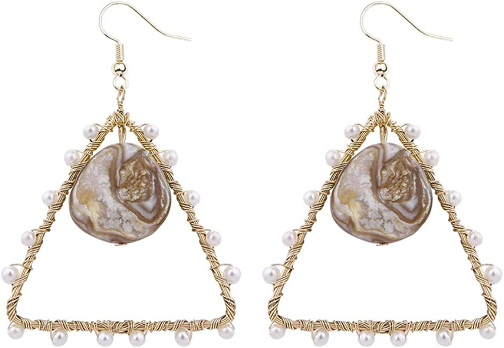 mecresh Lightweight Statement Geometric Hoop Fashion Handmade Earring with Freshwater Pearls for Women Gift