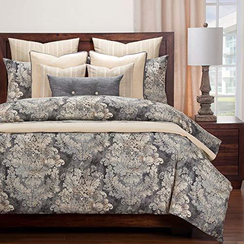 Find Discount HNU 6 Piece Cinder Smoke Comforter Set King, Smoky Romantic French Country Modern Contemporary Damask Bedding Medallion Motifs Warm Soft Cozy Cotton Linen Blend