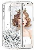 wlooo Funda para Samsung Galaxy A5 2017, Glitter liquida Cristal Silicona Lujo 3D Bling Flowing Sparkly Cute Transparente Cover Protector Suave TPU Bumper Case Brillante Arena movediza Carcasa (Plata)