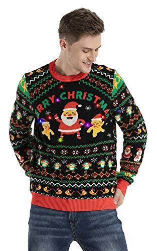 OFF THE RACK Unisex LED Light Up Ugly Christmas Jumper Sweater For Men & Women Suter, Agitar la Temporada, XXL para Hombre