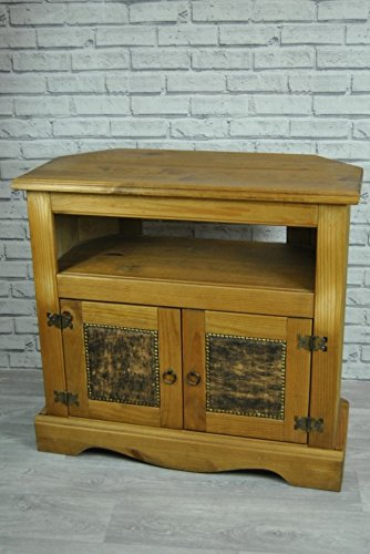 TV Television Stand Unit Cabinet Waxed Pine Brown Faux Leather Gold Studded Flat or Corner