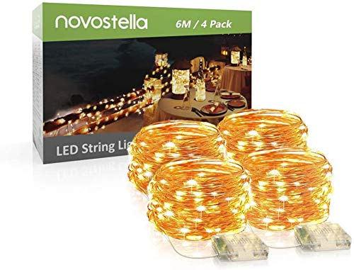 Novostella 4 Pack LED Fairy Lights String Copper Wire Lights, 60 LEDs 6M 8 Modes, Battery Operated for Christmas, Party, Festival Decorative Waterproof Outdoor Indoor Fairy Lights (Warm White)