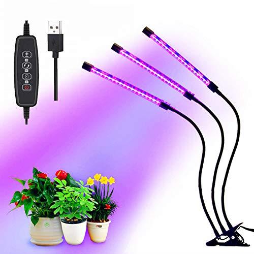 Växa glödlampa trippelhuvud växtlampor för inomhusväxter viloläge LED-lampor fullt spektrum 60 LEDs 30 W [Energiklass A +++]