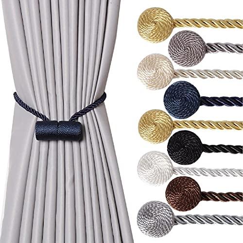 Magnetic Curtain Tiebacks - SBROS ( 2 pcs ) Strong Modern Upgrade 2021 Drape Tie Backs Decorative Twisted Handmade Rope Holdback for Window Draperies (2, Blue Navy CK33)