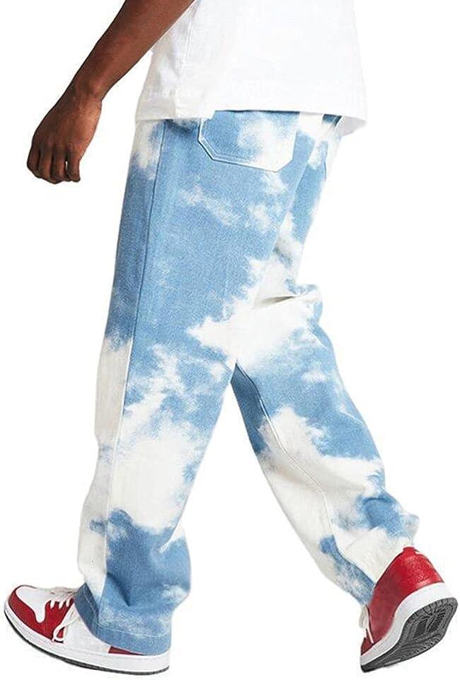 Herren Patchwork Jeans Casual Relaxed Fit Jeanshose Denim Hosen Baggy Hip Hop Jeans Hose mit Weitem Bein Straight Leg Vintage Color Block Streetwear
