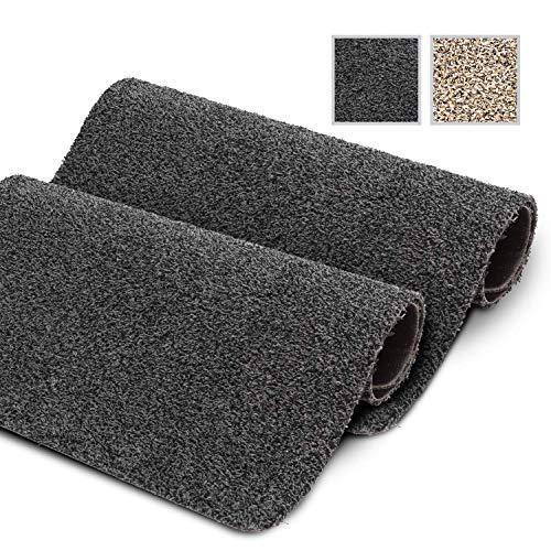 GadHome wasserabsorbierende Fußmatte, Anthrazit 40 cm x 60 cm | Fußmatte für innen und außen | rutschfeste, waschbare, schnell trocknende Haustürmatte aus weicher Baumwolle für Innen und Außen