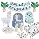 Llama Party Birthday Supplies – Cute Cactus & Llama Party Supplies Includes Cake Plates, Dinner Plates, Banner, Tablecloth, Cups, Napkins & 3D Centerpieces for Perfect Llama Birthday Decorations