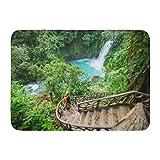 Alfombra de baño Blue Adventure Majestic Waterfall in The Rainforest Jungle Costa Rica Tropical Hike Colorful America Baño Decoración Alfombra