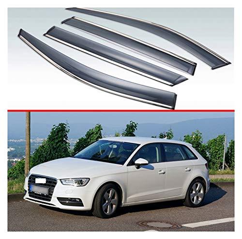 JIUTAI Windabweiser Für Audi A3 Sportback 2013-2019 Kunststoff-Außen-Visier-Venor-Entlüftungsschirme Fenster Sun Rain Guard-Deflektor Fensterabweiser
