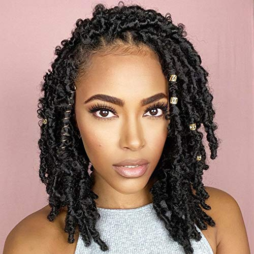 Butterfly Faux Locs Crochet Hair 12 Inch 6 Packs Short Soft Locs Crochet Pre-Looped Distressed Boho Loc Crochet Hair Extension for Women in 1B Color