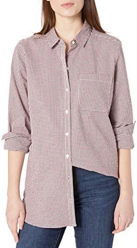 Amazon Brand Goodthreads Women s Seersucker Long Sleeve Oversized Boyfriend Shirt Burgundy and product image