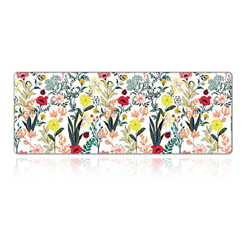 PEPYJAN Gaming Mouse Pad, XL Large Mouse Pad, Extended Mousepad Desk Pad Non-Slip Rubber Stitched Edges Mouse Pad (31.5x11.8x0.12 Inch) - Flower