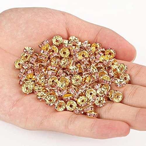 50 unids / lote 4 6 8 10mm cuentas espaciadoras redondas sueltas de cristal de diamantes de imitación para hacer joyería DIY pulsera collar accesorios