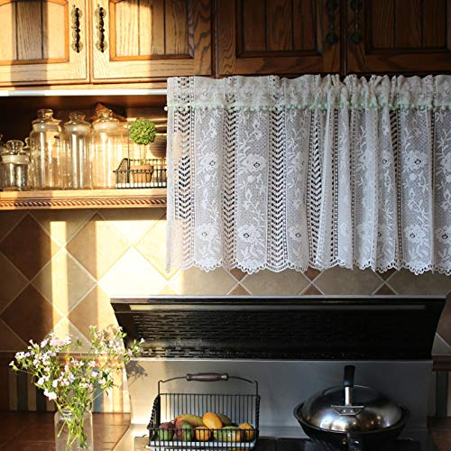 WJWJ Visillos, Cortinas de Cocina Cortas, Cenefas de Cortina De Café de Poliéster Cortinas de Red Cortas de Cocina, Cortinas de Cocina Ventana de Flores Huecas
