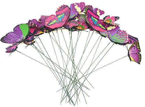 FiveSeasonStuff Lot de 24 Stickers Muraux Collection de 3D Papillons avec du Fil métallique pour Pots de Fleurs et en décoration Le Jardin (Rose, Violet, Vert mélanger Papillons)
