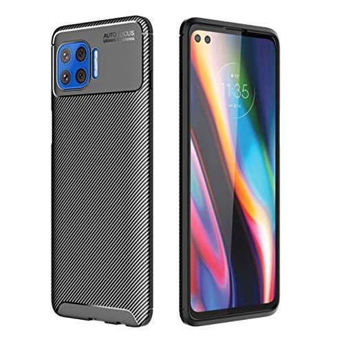 """Capa Capinha Anti Impacto Para Motorola Moto G 5g Plus com Tela de 6.7"""" polegadas - Case Com Desenho Fibra De Carbono Shock Queda - Danet (Preta)"""