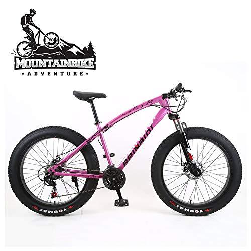 NENGGE Hard Tail Bicicleta Montaña 26 Pulgadas para Adulto Hombre Mujer, Profesional Freno Disco Bicicleta BTT con Suspensión Delantera, Marco Acero de Alto Carbono MTB,Rosado,27 Speed