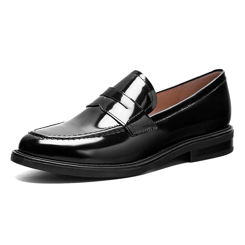 釈義こどもの宮殿即席HWF レディースシューズ レディースローファーレザーシューズ英国スタイル、女性用春オックスフォードシングルシューズフラットヒールの靴 (色 : 黒, サイズ さいず : 36)