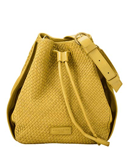 Liebeskind Berlin Damen Santa Fe - Bucketbag Medium Umhängetasche, Grün (Golden Olive), 11x28x30 cm