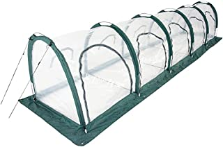 Garden Plant Tent,FOME PE Plant Tunnel Waterproof Greenhouse for Plants Outdoor Portable Greenhouses with Five Zipper Doors Backyard Flower Shelter 196.9x39.4x39.4in
