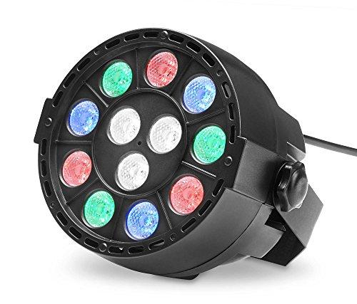 Showlite SPS-121 LED Smart Party Spot (3 rote, 3 grüne, 3 blaue und 3 weiße LEDs mit je 1 Watt Leistung, DMX-Betrieb möglich, klein, kompakt & leistungsstark, leiser Lüfter) Schwarz