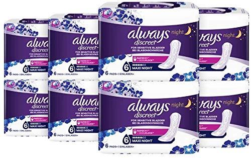 Always Discreet Inkontinenz-Einlagen+ Maxi Night bei Blasenschwäche, 8er Pack (8 x 6 Stück)