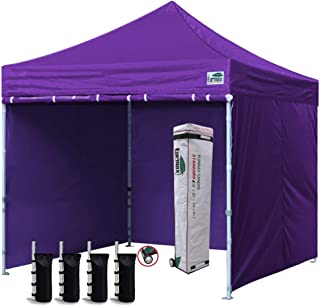 Eurmax 10'x10' Ez Pop-up Canopy Tent Commercial Instant Canopies with 4 Removable Zipper End Side Walls and Roller Bag, Bonus 4 SandBags(Purple)
