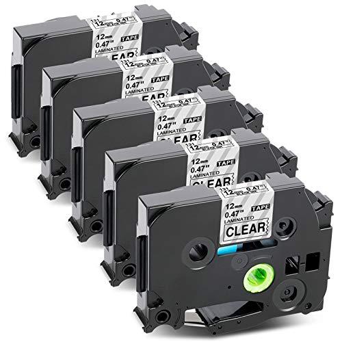 Upwinning Nastro di ricambio compatibile per Brother P-touch TZe-131 12 mm 0.47 pollici nero su nastro trasparente TZe131 TZ131 per Ptouch PT H105 H110 1000 1005 1010 D400, 5 pezzi