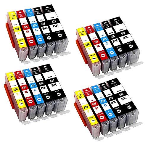 NM-Print - 20 Cartucce con chip per stampanti Canon Pixma MG 5100 5150 5200 5250 5300 5350 6150 6250 8150 8250 / canon MX 715 885 895 IP4850 ip4950, 4 x PGI-525BK nero, 4 x Canon CLI-526BK nero per foto, 4 x CLI-526C ciano, 4 x CLI-526M magenta, 4 x CLI-526Y giallo