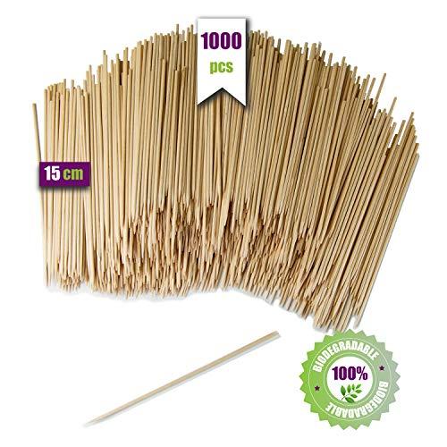GoBeTree 1000 houten spiesen, 15 cm Ø 2,5 mm, grillspiesen en staafjes van bamboehout, voor barbecue, grill, vlees, groenten, houten stokken voor knutselwerk.