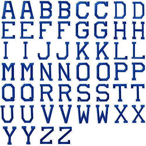 52 Parches de Letras de Plancha, Parches Apliques de Alfabeto o Apliques de Coser con Bordado Parche Decorativo de Reparación de Insignia A-Z para Garros, Camisas, Zapatos, Jeans, Bolsos (Azul)