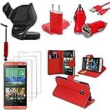 VCOMP HTC Desire 610: Lot Etui Housse Coque Pochette Accessoires Support Chargeur Voiture Films Stylet Portefeuille...