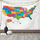 Ambesonne Wanderlust Tapestry, Colorful USA Map with States and Capital Cities Washington Florida Indiana Print, Fabric Wall Hanging Decor for Bedroom Living Room Dorm, 90' X 60', White Green