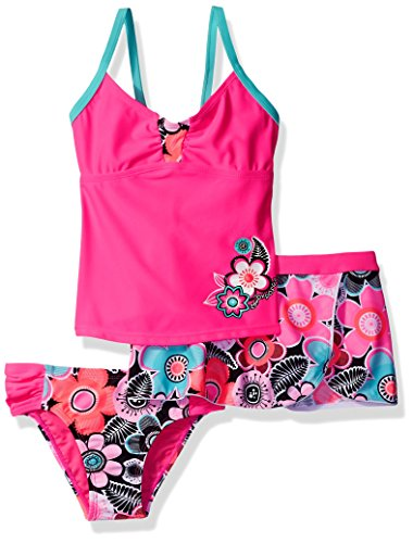 ZeroXposur Girls' Little Cartwheel Tankini Swimsuit with Skirt, Barbie, 4
