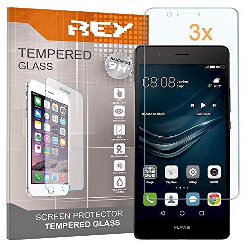 REY 3X Protector de Pantalla para Huawei P9 Lite, Cristal Vidrio Templado...