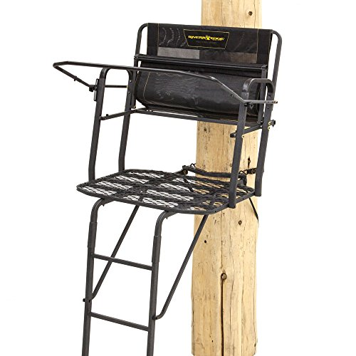 Rivers Edge RE654, Lockdown 2-Man Ladder Tree Stand, 17.5' Height with TearTuff Mesh Seat, 2-Way Adjustable Shooting Rail, Wide 40' Platform, Back/Arm Rests, Black