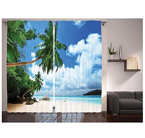 MUXIAND Paradise Shores Gordijnen Strand Op Mahe Island in Seychellen raamdecoratie Panel Set voor Woonkamer Slaapkamer