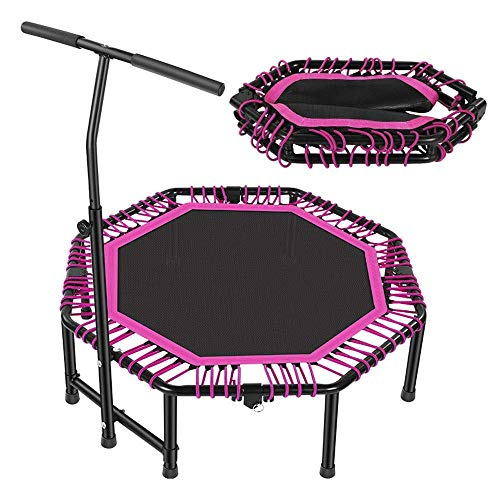 LNNZPL Trampoline 48 Foldable Trampoline Mini with Adjustable Handrail for Indoor Fitness Trampoline for Kids Adult Outdoor pink trampoline,trampoline net Safe and durable products